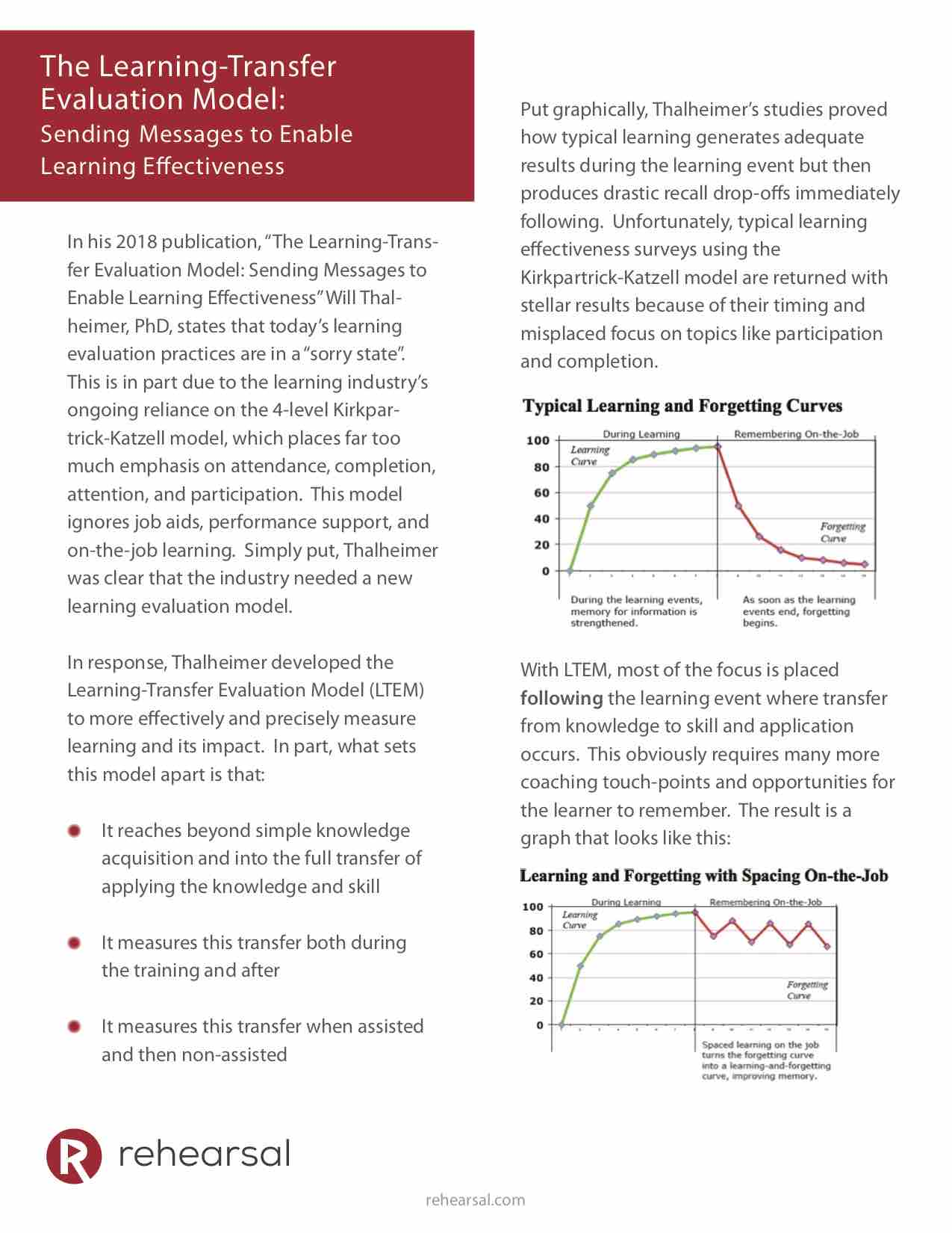 The Learning-Transfer Evaluation Model White Paper Cover