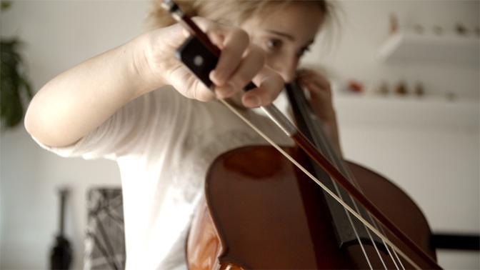 Cellist Practicing her skills